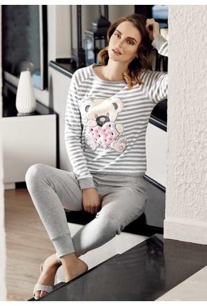 Mel Bee Peluş Pijama Takımı Gri Mbp23603-1