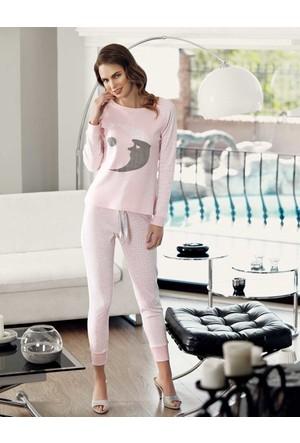 Mel Bee Ay Dede Baskılı Pijama Takımı Pembe Mbp23613-1