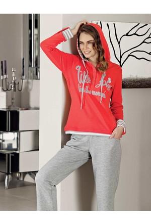 Mel Bee Kapşonlu Kadın Pijama Takımı Nar Çiçeği Mbp23616-2