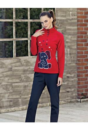 Mel Bee Fil Baskılı Kadın Pijama Takımı Kırmızı Mbp23633-1