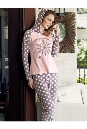 Mel Bee Kapşonlu Puanlı Kadın Pijama Takımı Pembe Mbp23635-1