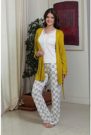 Hays Chloe Penye Kadın Sabahlıklı 3'lü Uzun Pijama Takımı