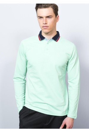 Adze Açık Yeşil Erkek Polo Yaka SweaTshirt