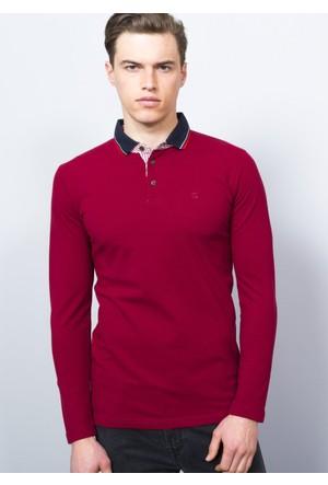 Adze Bordo Erkek Polo Yaka SweaTshirt