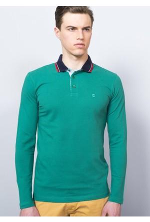 Adze Yeşil Erkek Polo Yaka SweaTshirt