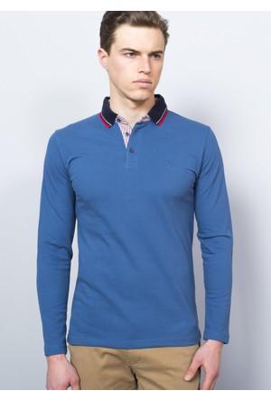 Adze İndigo Erkek Polo Yaka SweaTshirt