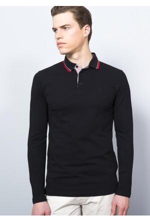 Adze Siyah Erkek Polo Yaka SweaTshirt
