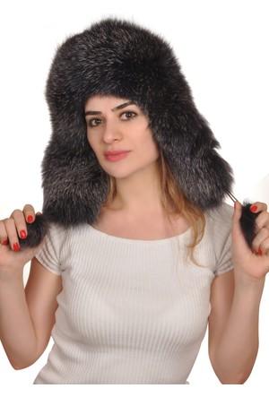 Erat Leather Tilki Derisi Bayan Şapka