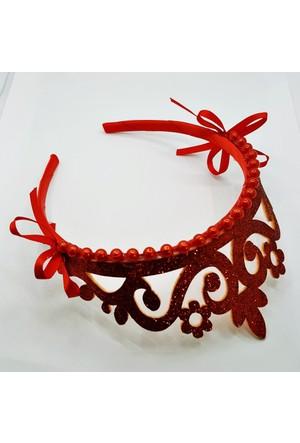 Fonnava Kırmızı Renkli İncili Kraliçe Taç Tb0378