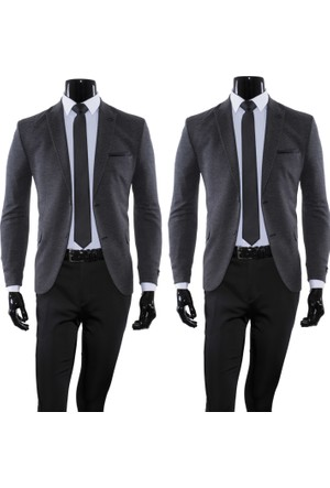 GiyimGiyim Desenli Dar Kesim Blazer Tek Ceket