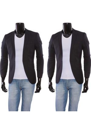 GiyimGiyim Kendinden Desenli Dar Kesim Blazer Tek Ceket