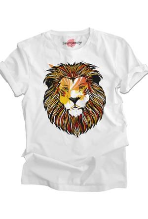 Suluboyadesign Aslan No:1 Baskılı Sıfır Yaka Erkek T-Shirt