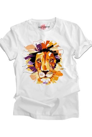 Suluboyadesign Aslan No:2 Baskılı Sıfır Yaka Erkek T-Shirt