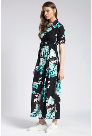 Giyimsel Çiçek Desen Kuşaklı Yeşil Uzun Kol Gömlek Elbise