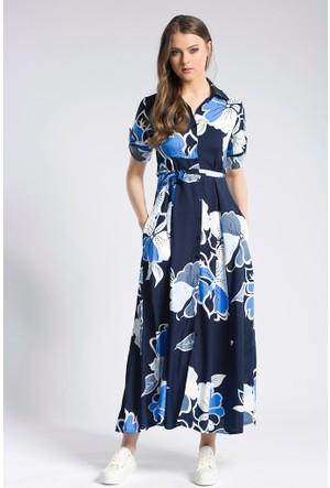 Giyimsel Çiçek Desen Kuşaklı Mavi Uzun Kol Gömlek Elbise