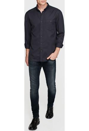 Mavi Tek Cep Siyah Gömlek