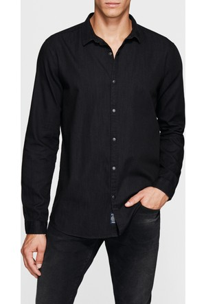 Mavi Cepsiz Siyah Denim Gömlek