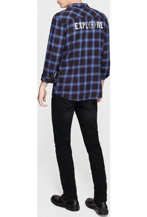 Mavi Kareli Siyah Gömlek