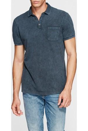 Mavi Cepli Koyu Gri Polo T-Shirt