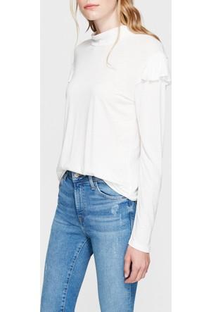 Mavi Uzun Kollu Beyaz Sweatshirt
