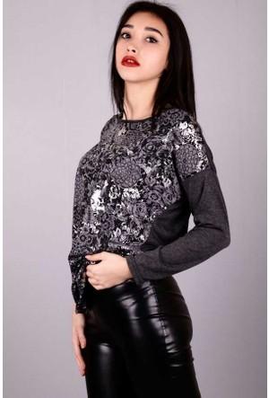Peri Kızı Önü Çiçek Varaklı Bluz Füme