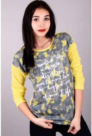 Peri Kızı Önü Kamuflaj Yazılı Triko Sarı