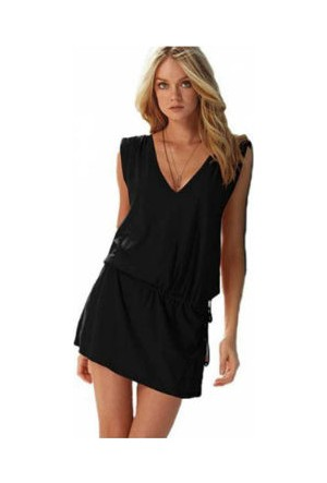 Wildlebend Likralı Plaj Elbisesi - 1 Beden - Siyah