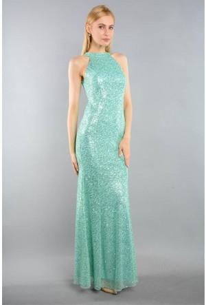 Espenica Pul Palet Uzun Abiye Elbise 3643