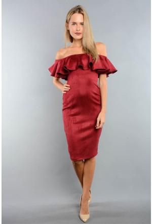 Espenica 3657 Poo Süvet Fırfırlı Kısa Elbise