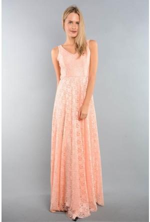 Espenica 3644 Kary Uzun Dantel Elbise