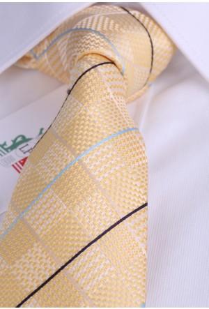 La Pescara Sarı Çizgili Klasik Kravat Ck1907