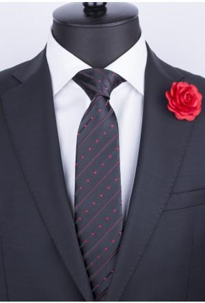 La Pescara Siyah Kırmızı Çizgili Klasik Kravat Çk3011