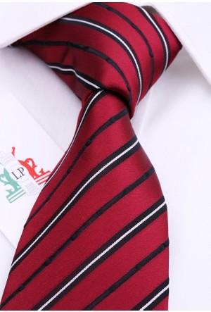 La Pescara Bordo Beyaz Çizgili Klasik Kravat Çk3019