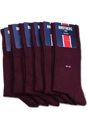 Brothers Brothers 6'lı Bordo Kokulu Bambu Erkek Çorap CRP13