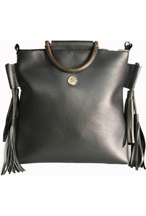 Çanta Stilim Deri Gri 2323-G El ve Çapraz Kadın Çantası