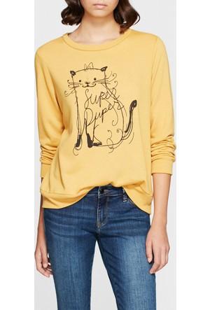 Mavi Baskılı Sarı Sweatshirt