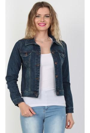 E-Giyimsepeti Mavi Kadın Kot Ceket
