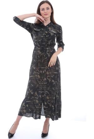 E-Giyimsepeti Cebi Taşlı Kamuflaj Haki Elbise