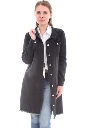 E-Giyimsepeti Bayan Siyah Kot Tunik Ceket