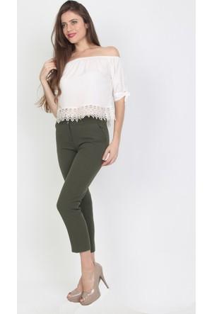 E-Giyimsepeti Haki Yeşili Bilek Boy Kumaş Pantolon