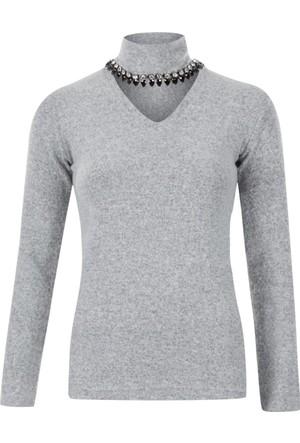 E-Giyimsepeti Gri Kolyeli Balıkçı Bluz