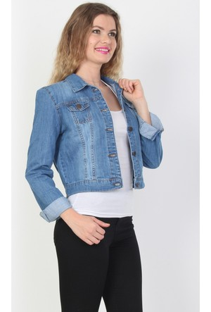 E-Giyimsepeti Mavi Bayan Kot Ceket Cd2037