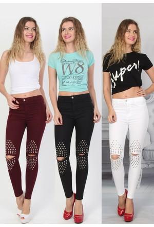 E-Giyimsepeti Full Taşlı Bayan Kot Pantolon Ydy2109