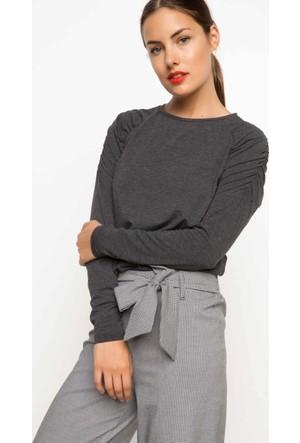 DeFacto Omuz Büzgülü Uzun Kollu Sweatshirt