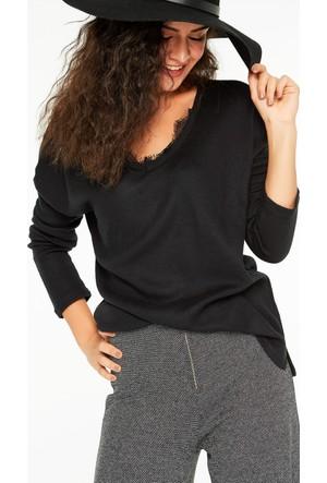 FullaModa 18KBUSEM0054 Kadın Yaka Detaylı Bluz