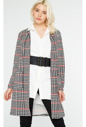 FullaModa 18KTURKUVAZ0015 Kadın Desenli Ceket