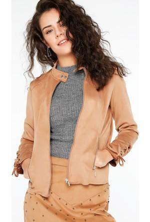 FullaModa 18KAYR0001 Kadın Kol Detaylı Süet Ceket