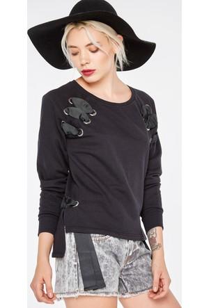 FullaModa 18KAKYÜZ0001 Kadın Bağcıklı Sweatshirt