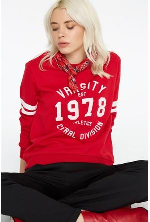 FullaModa 18KAKYÜZ0012 Kadın Baskılı Sweatshirt