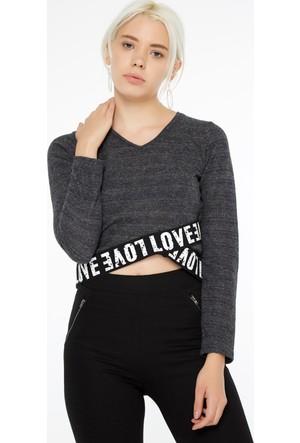 FullaModa 18KAKYÜZ0014 Kadın Baskılı Sweatshirt